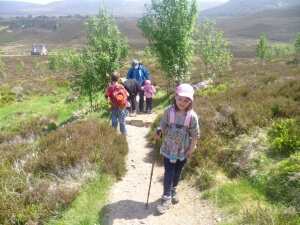 Hiking in the Cairngorms with a family